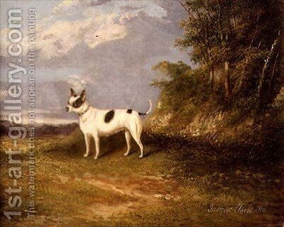 A terrier in a landscape by James Senior Clark - Reproduction Oil Painting