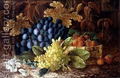 A still life of grapes and a basket of strawberries on a mossy bank by (after) Clare, Vincent - Reproduction Oil Painting