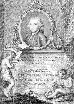 Sheet Music Cover with a portrait of Felice Giardini by (after) Cipriani, Giovanni Battista - Reproduction Oil Painting