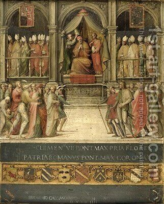 Coronation of Pope Paul II 1417-71 by Giovanni di Lorenzo Cini - Reproduction Oil Painting