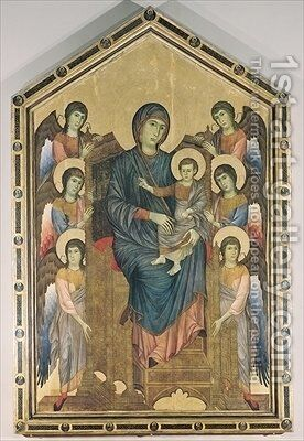The Virgin and Child in Majesty surrounded by Six Angels by Giovanni Cimabue - Reproduction Oil Painting