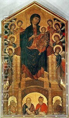 Madonna and Child Enthroned by Giovanni Cimabue - Reproduction Oil Painting