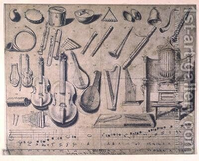 Various musical instruments the percussion the stringed and wind instruments the organ by (after) Chodowiecki, Daniel Nikolaus - Reproduction Oil Painting