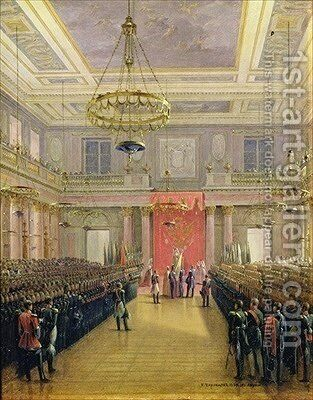 The Oath of the Successor to the Throne Alexander II Nickolaevich in the Winter Palace by Grigori Grigorevich Chernetsov - Reproduction Oil Painting