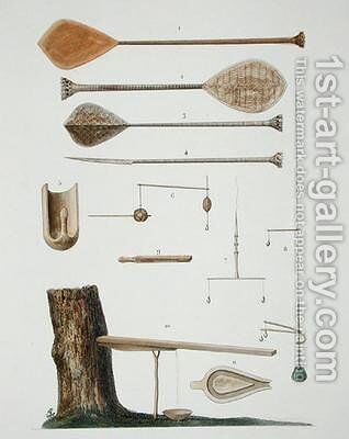 Society Islands pangas fishing hooks and other tools by (after) Chazal, Antoine - Reproduction Oil Painting