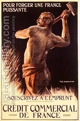 Poster advertising the French National Loan First World War by B. Chavannaz - Reproduction Oil Painting