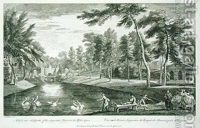 A View to the Grotto of the Serpentine River in the Alder Grove at Stowe by (after) Chatelain, Jean Baptiste Claude - Reproduction Oil Painting