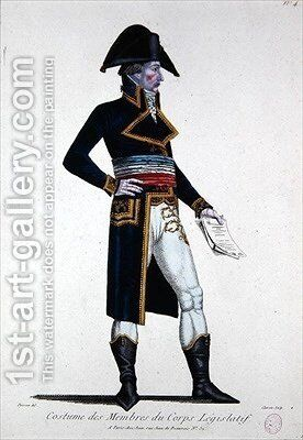 Costume of Members of the Corps Legislatif during the First Republic in France by Chataignier - Reproduction Oil Painting