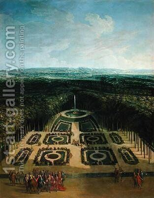 Promenade of Louis XIV 1638-1715 in the Gardens of the Grand Trianon by Charles Chastelain - Reproduction Oil Painting