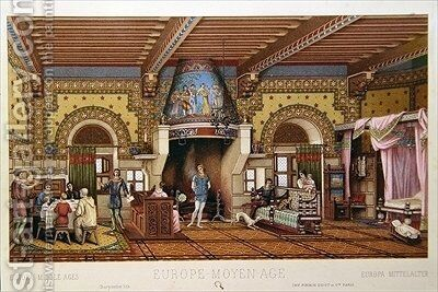 Interior of a French castle during the Middle Ages by Charpentier - Reproduction Oil Painting