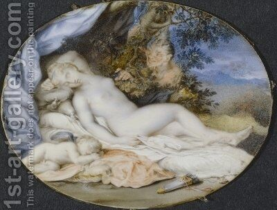 Venus and Cupid asleep spied upon by a satyr by Jacques Charlier - Reproduction Oil Painting
