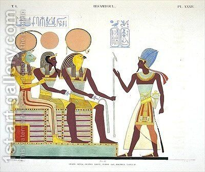 Fresco from Ibsambul depicting Ramesses II facing l to r Sekhmet by Jean Francois Champollion - Reproduction Oil Painting