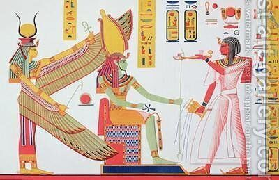 Ramesses IV 1153-1147 BC offering incense to Isis and Amon Re seated on a throne by (after) Champollion, Jean Francois - Reproduction Oil Painting