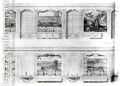 Plan and Elevation of the Galerie du Petit Chateau de Chantilly 2 by Chambe - Reproduction Oil Painting