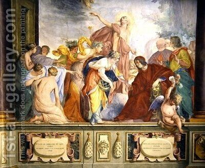 Lorenzo de Medici and Apollo welcome the muses and virtues to Florence by Bravo Cecco (Francesco Montelatici) - Reproduction Oil Painting