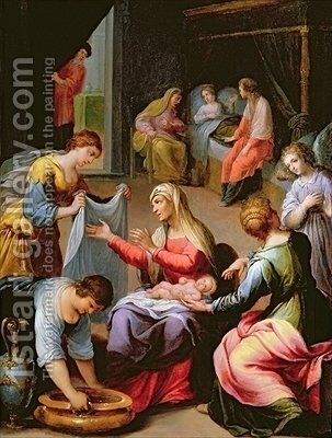 The Birth of the Virgin by Alessandro di Agostino Casolani - Reproduction Oil Painting