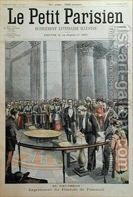 Experiment with Foucaults Pendulum at the Pantheon in Paris by (after) Carrey - Reproduction Oil Painting