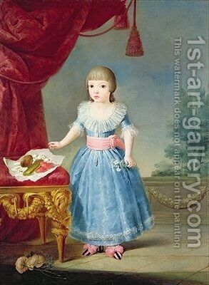 Girl in a Blue Dress by a Table of Sweetmeats by Antonio Carnicero - Reproduction Oil Painting