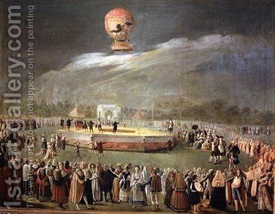 Balloon Ascension in the Gardens of Aranjuez by Antonio Carnicero - Reproduction Oil Painting