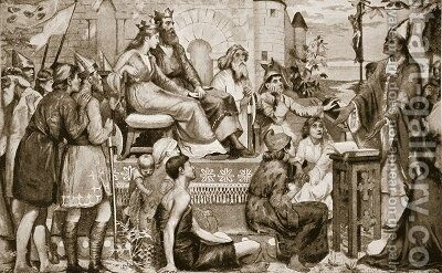 St Augustine preaching to the Saxons by Stephen Briggs Carlil - Reproduction Oil Painting