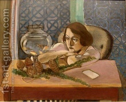Woman Before An Aquarium by Henri Matisse - Reproduction Oil Painting
