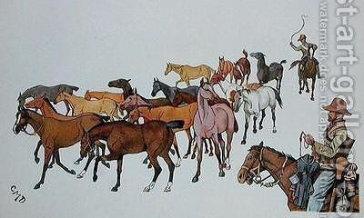 The Volunteers' Ponies by Captain Clive Dixon - Reproduction Oil Painting