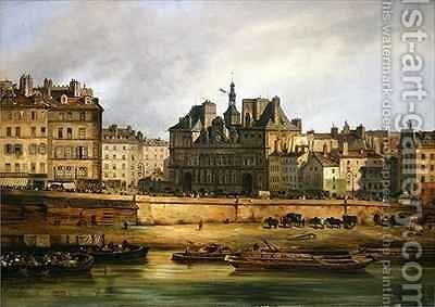 Hotel de Ville and embankment, Paris by Guiseppe Canella - Reproduction Oil Painting