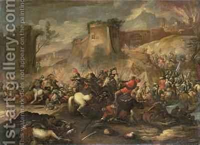 Cavalry skirmishes between Crusaders and Turks by Antonio Calza - Reproduction Oil Painting
