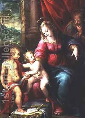 Madonna and Child with John the Baptist by Denys Calvaert - Reproduction Oil Painting
