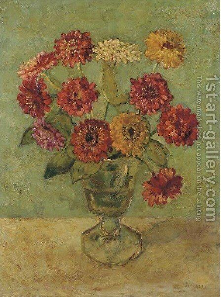 A still life with zinnias in a vase by Jacobus Johannes Doeser - Reproduction Oil Painting