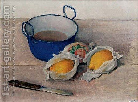 A still life with lemons, a knife and small pot by Jan Boon - Reproduction Oil Painting
