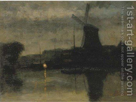 A river at night by Eduard Karsen - Reproduction Oil Painting