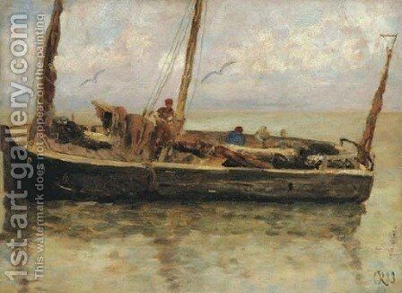 A fishing boat at sea by Charles Emmanuel Joseph Roussel - Reproduction Oil Painting