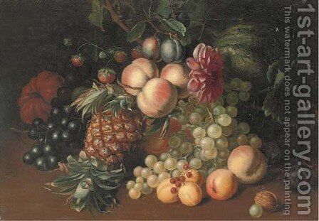 Still life of grapes, peaches, strawberries, a melon, pumpkin, pineapple, with an acorn to the side by Arthur Charles Dodd - Reproduction Oil Painting