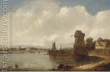 An extensive estuary landscape by A.H. Vickers - Reproduction Oil Painting