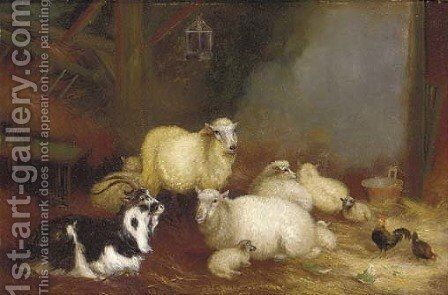 Sheep, chickens and a goat in a barn by A. Jackson - Reproduction Oil Painting