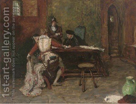 Signing the charter by A. Leicester Burroughs - Reproduction Oil Painting