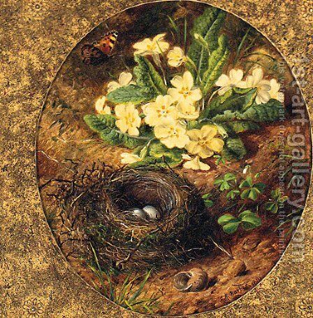 Primulas, a Snail's Shell, a Bird's Nest with Eggs and a Butterfly by Alfred R. Barber - Reproduction Oil Painting