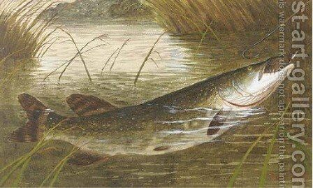 Hooking a pike by A. Roland Knight - Reproduction Oil Painting