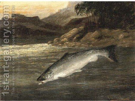 Salmon rising by A. Roland Knight - Reproduction Oil Painting