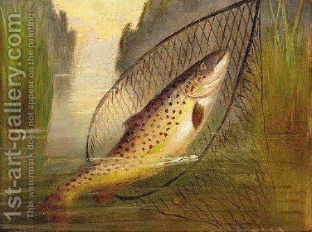 A trout in a net by A. Roland Knight - Reproduction Oil Painting