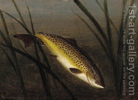 A trout on a line by A. Roland Knight - Reproduction Oil Painting