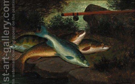 A trout, grayling and a perch by A. Roland Knight - Reproduction Oil Painting