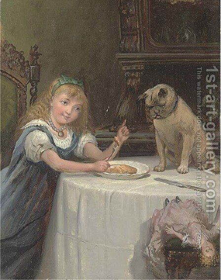 Dinner companions, a young girl with her pug by Alexander Rosell - Reproduction Oil Painting