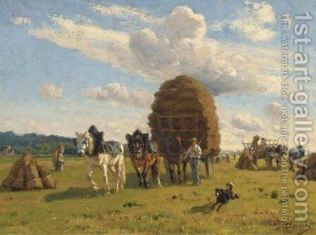 Returning home after the harvest by A. Borrchy - Reproduction Oil Painting