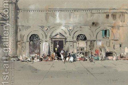 An Arab bazaar by Henri Meyer - Reproduction Oil Painting