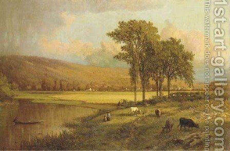 A Sunlit Meadow by Aaron Draper Shattuck - Reproduction Oil Painting