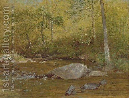 Rocks in Spring, Farmington River by Aaron Draper Shattuck - Reproduction Oil Painting
