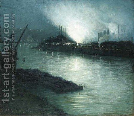 Pittsburgh at Night by Aaron Harry Gorson - Reproduction Oil Painting