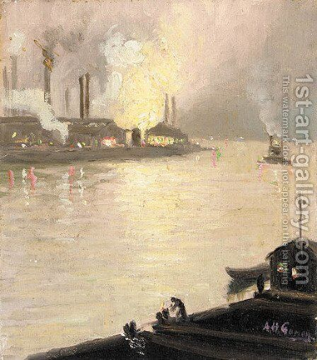 Factories Along the River at Night by Aaron Harry Gorson - Reproduction Oil Painting